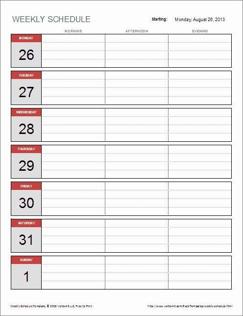 One Week Schedule Template Elegant 6 Weekly Schedule 1 Week Schedule Template