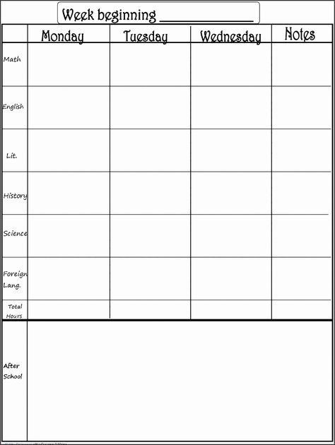 One Week Schedule Template Lovely 8 Editable E Week 1 Week Schedule Template