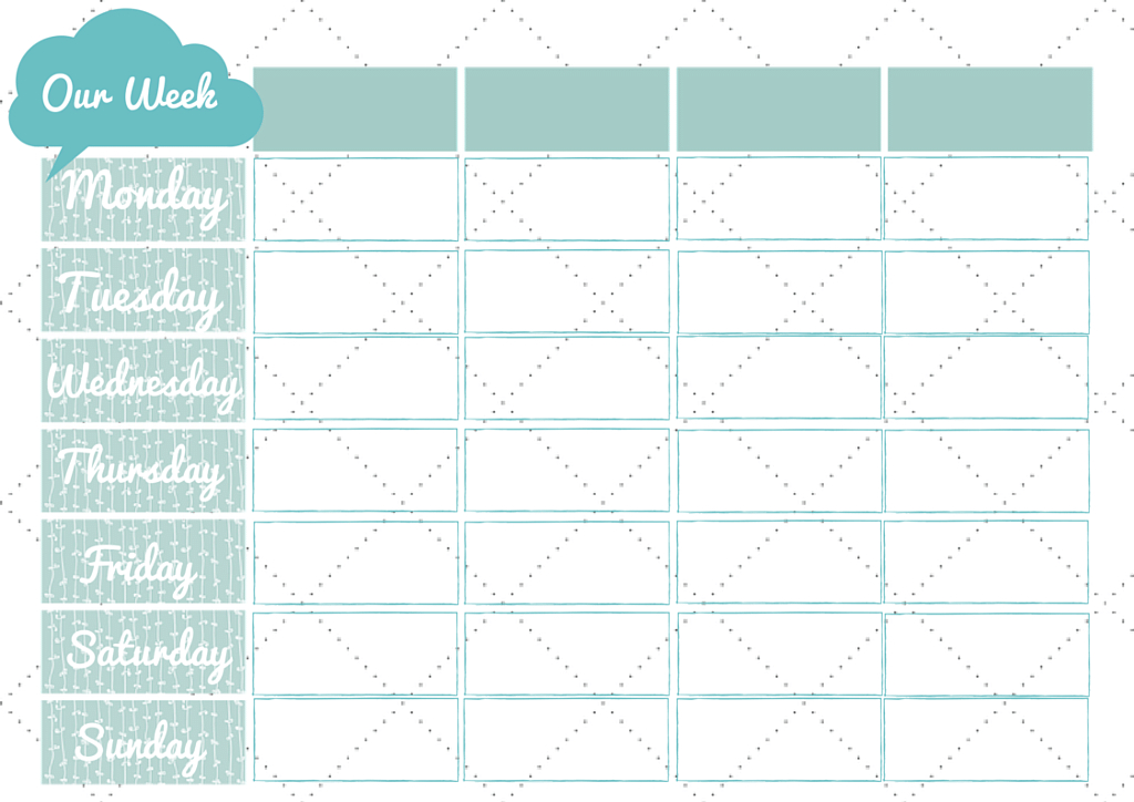 Our Week Monday Tuesday Wednesday Thursday Friday Saturday Monday To Friday Schedule Template With Four Weeks