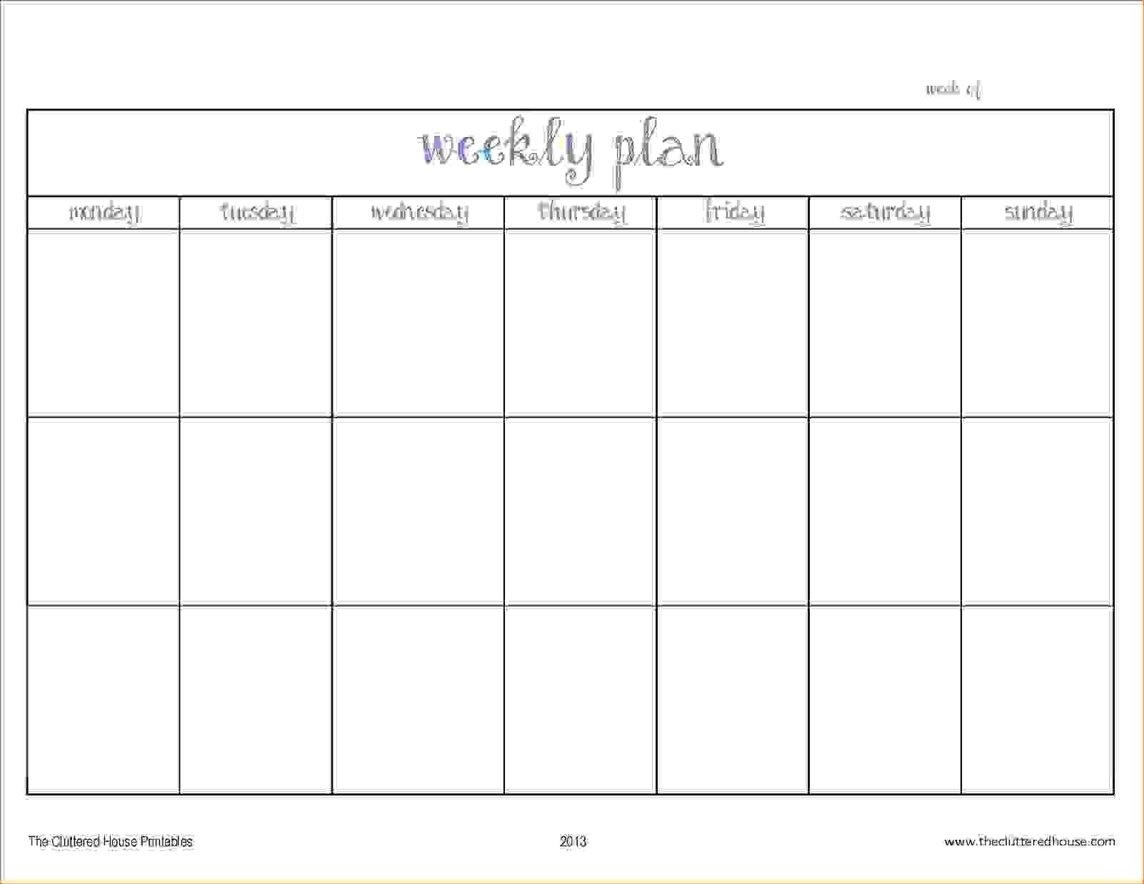 Pick Blank Two Week Schedule Template (With Images Blank 2 Week Schedule Template