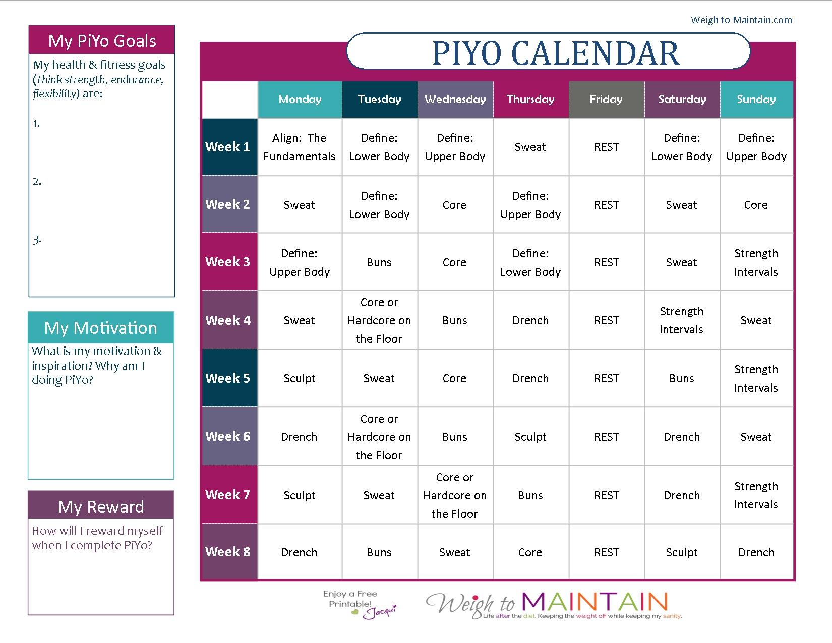Piyo 8 Week Calendar   Ten Free Printable Calendar 2020 2021 8 Week Calendar Printable
