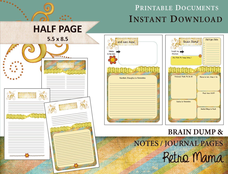 Planner: Printable Brain Dump & Notes Pages Printable Printable Calendar 8 1/2 X 5.5