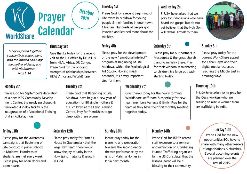 Pray – Worldshare Daily Scripure Prayer Calendar