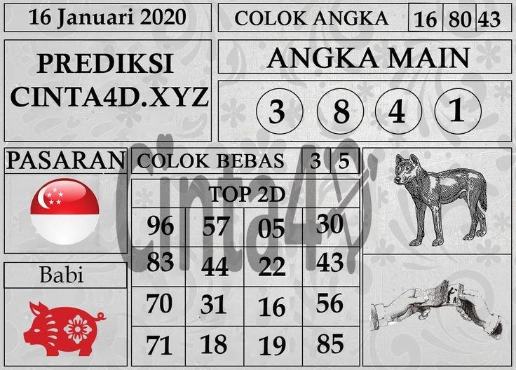 Prediksi Togel Singapore Hari Ini 16 Januari 2020 Di 2020 Calendar For Depo Shio