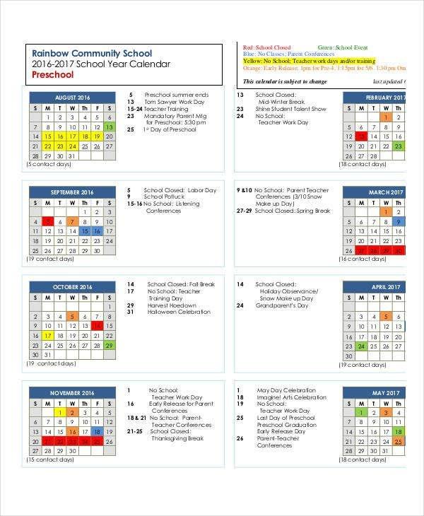 Preschool Calendar Template – 10+ Free Pdf, Word Format Free Editable Preschool Calendar Template