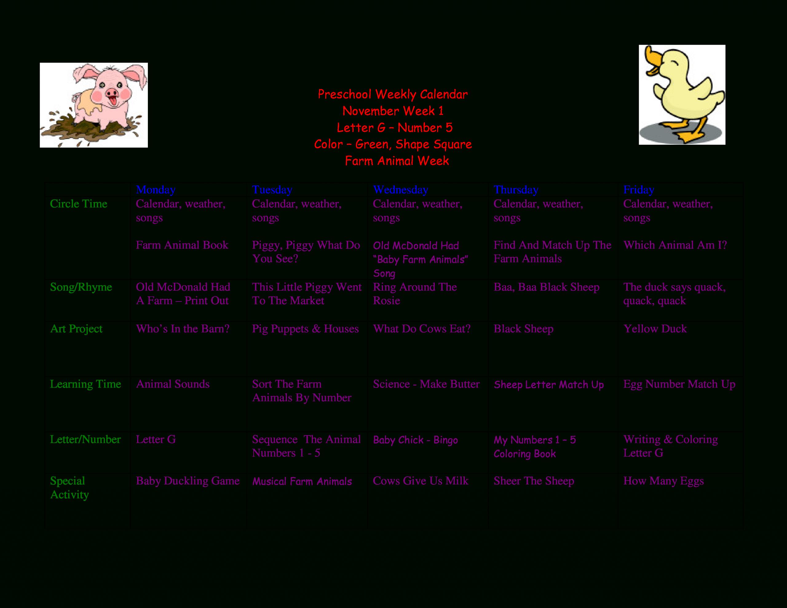 Preschool Weekly Calendar - How To Create A Preschool Create A Two Week Calendar