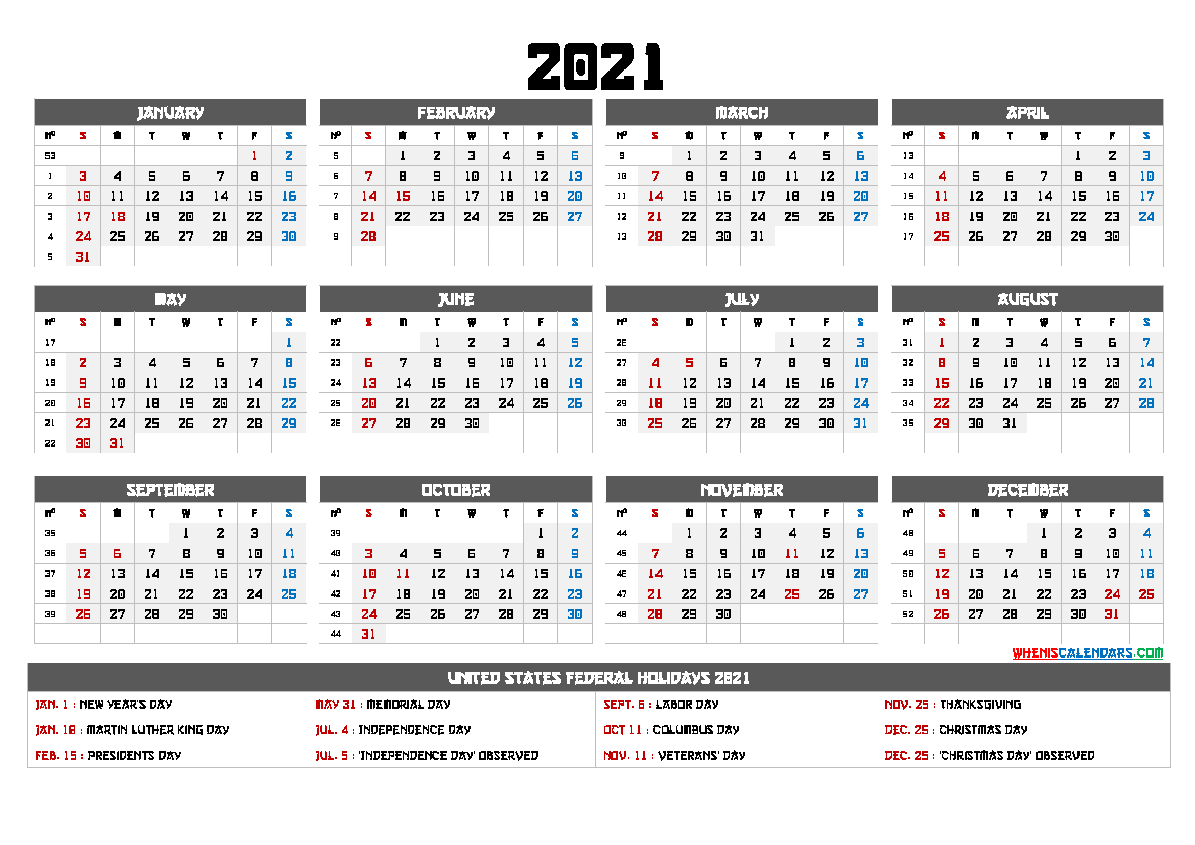 Printable 12 Month Calendar On One Page 2021 – 12 Templates Updateable 12 Month Calendar – Free