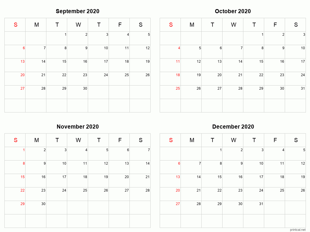 Printable 2020 Calendar – Four Months Per Page | Free Free 2020 Checkbook Size Calendar Same Size As A Check For The Year