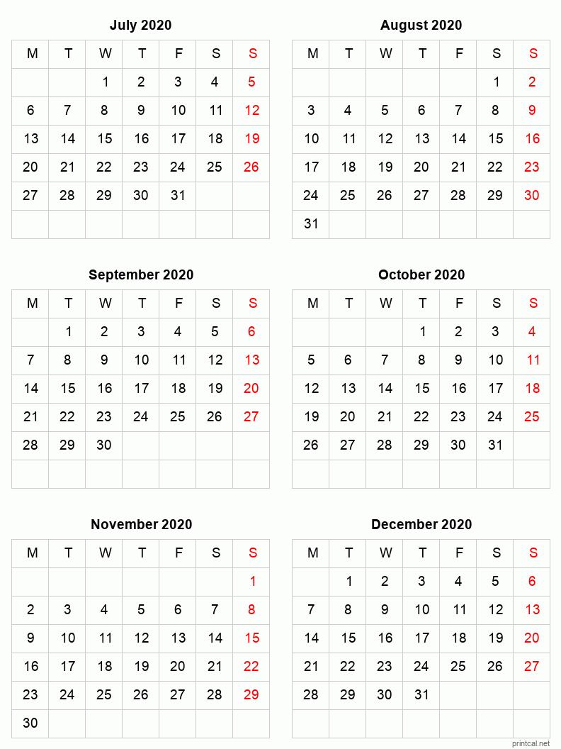 Printable 2020 Calendar – Six Months Per Page | Free Free 2020 Checkbook Size Calendar Same Size As A Check For The Year