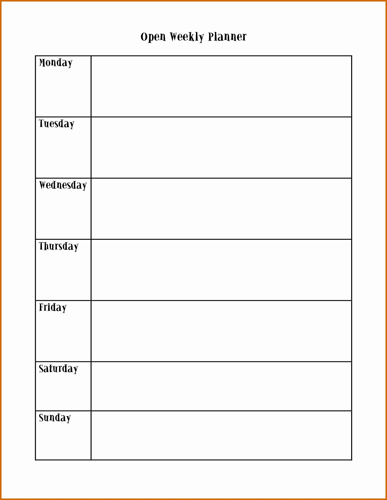 Printable Appointment Calendars Monday Through Friday Mon – Fri Calender Layout Download