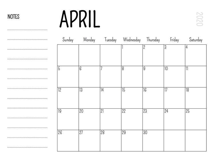 Printable April 2020 Calendar – Waterproof Paper No Frills Printable Calendar
