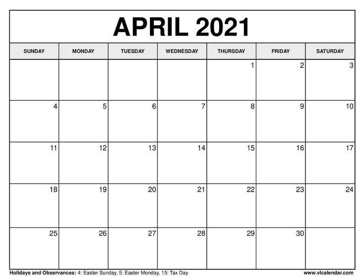 Printable April 2020 Calendars In 2020   2021 Calendar Printable 2020 Calendar Free Saturday To Friday