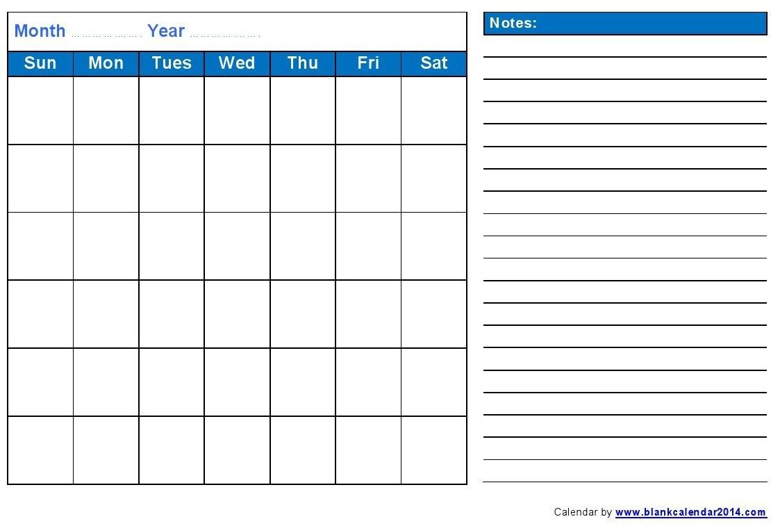 Printable Blank Monthly Calendar 2016 • Printable Calendar Printable 2016 Calendar With Notes