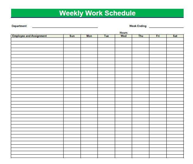 Printable Blank Pdf Weekly Schedules   Blank Pdf Weekly Printable Graph Of Daily Time Slots