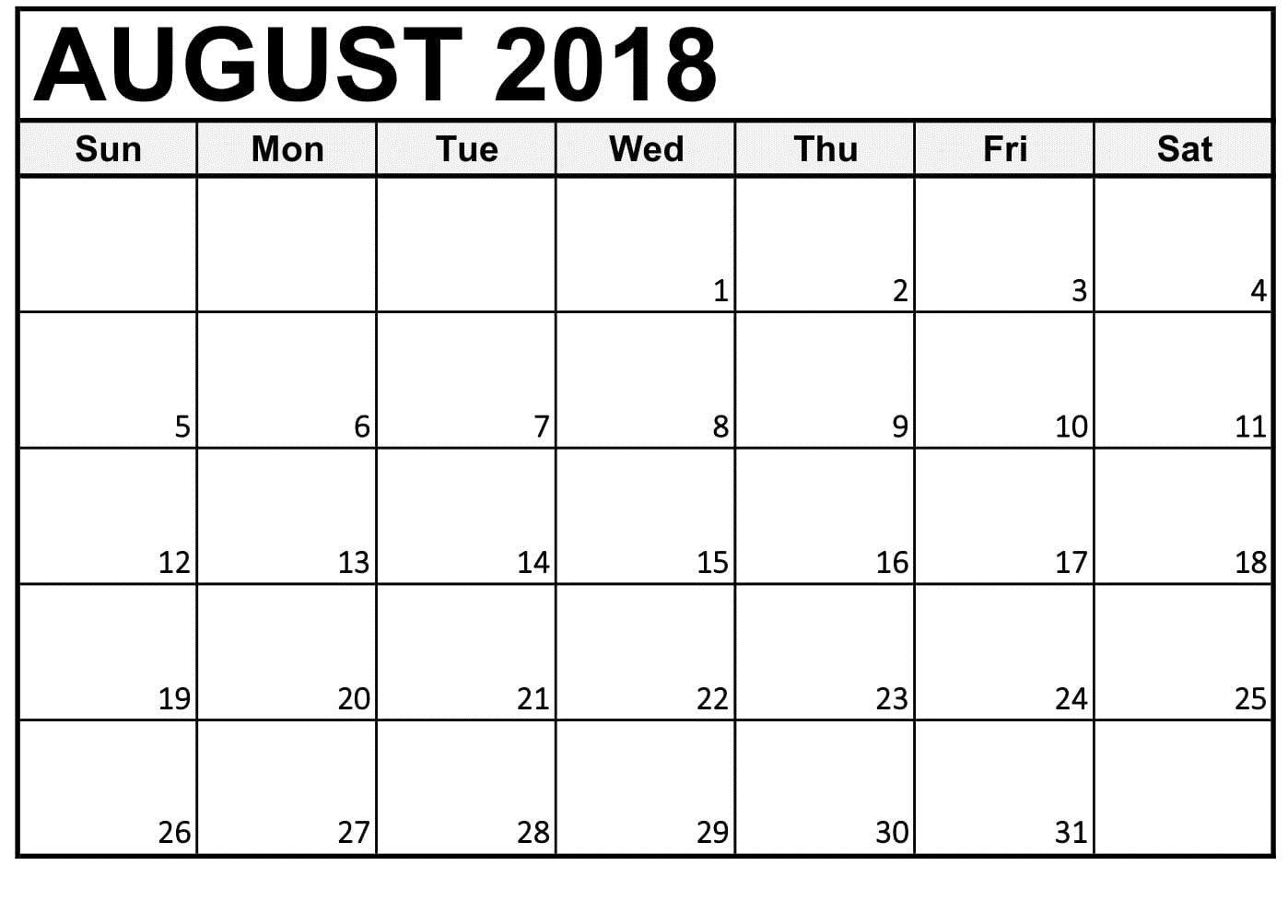 Printable Calendar August 2018 With Week Day   Printable 8 Week Calendar Printable