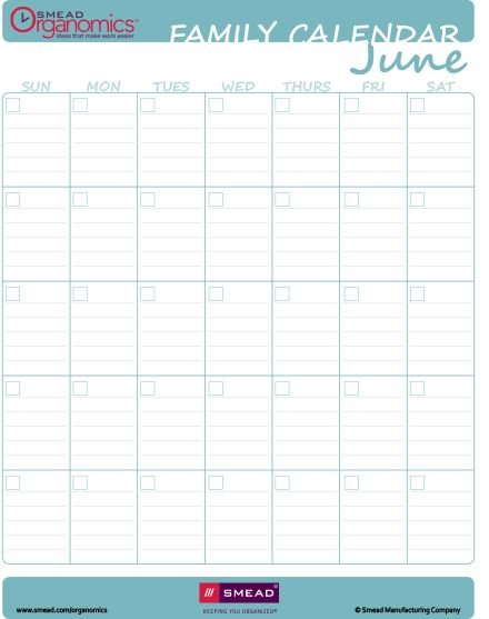Printable Calendar – Blank Fill In For Any Year – Extra Blank Lined Calendar To Print