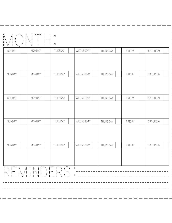 Printable Calendar Fill In The Blank Blank Calendar To Fill