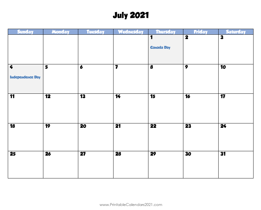 Printable Calendar July 2021, Printable 2021 Calendar With Free Bold Printable Calnder Jully