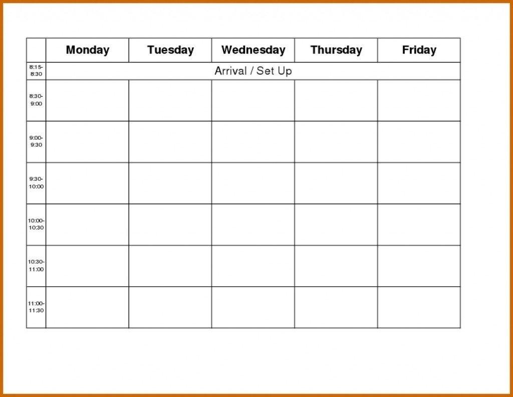 Printable Calendar Monday  Friday : Free Calendar Template Printable Schedule Mon To Friday