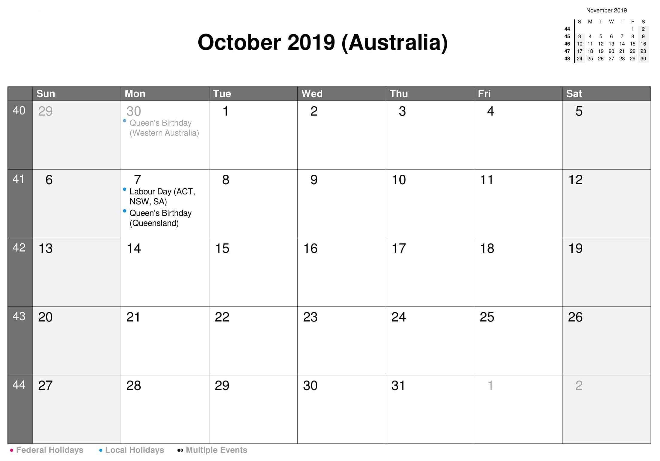 Printable Calendar October 2019 Australia   Calendar, Free Fillable Birthday Calendar Template Excel