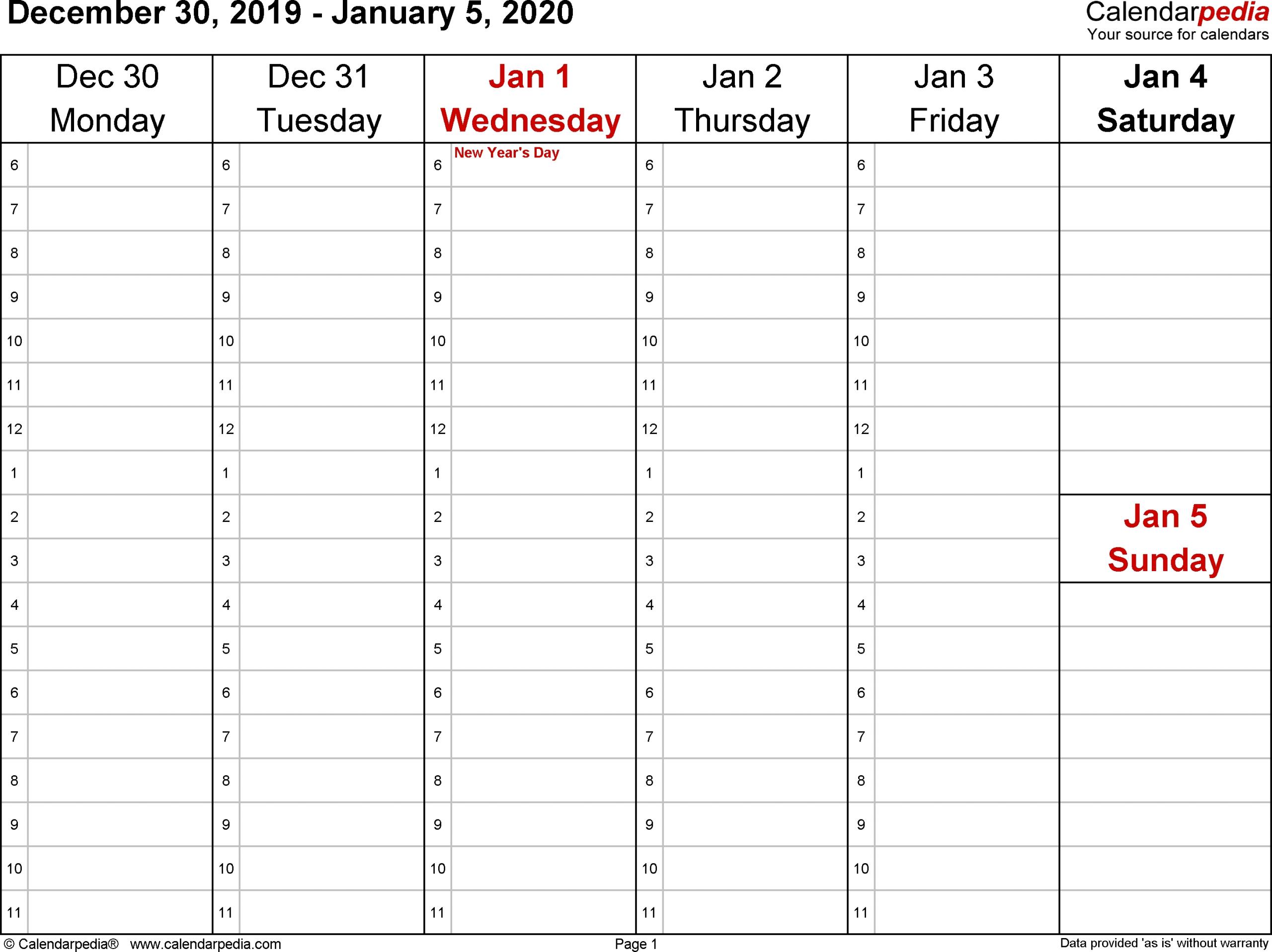 Printable Calendar One Week Per Page 2020 – Calendar One Week Calendar Form