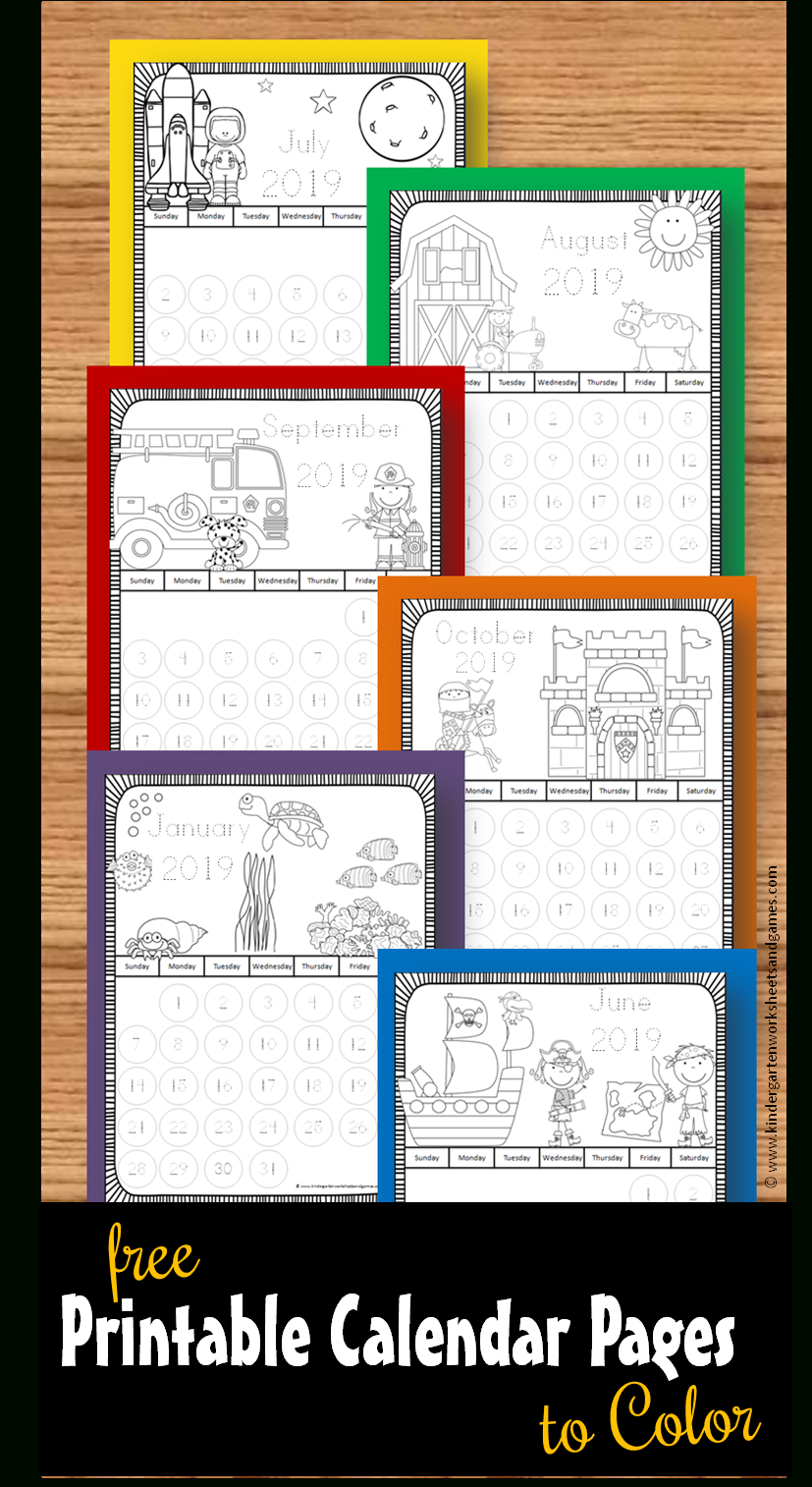 Printable Calendar Pages To Color Toddler Preschool Free Color Coded School Calendar Template