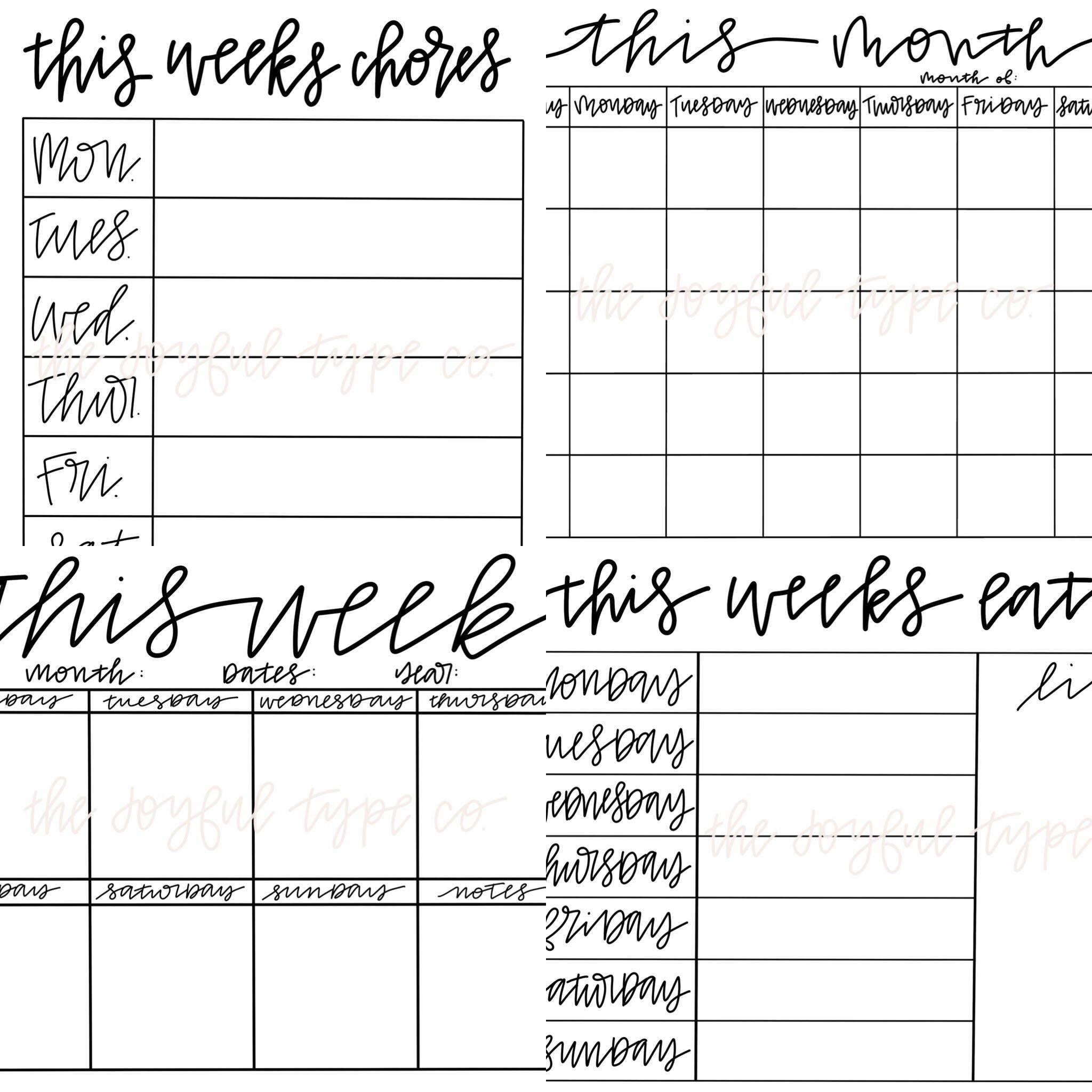 Printable Calendar / Printable Menu / Printable Chore Monday Thru Sunday Menu Template