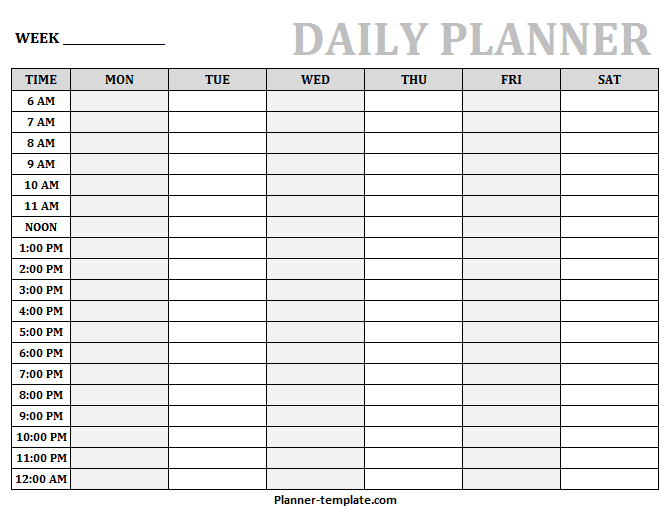 Printable Daily Planner Template | Blank Daily Hourly Printable Daily Hourly Calenders