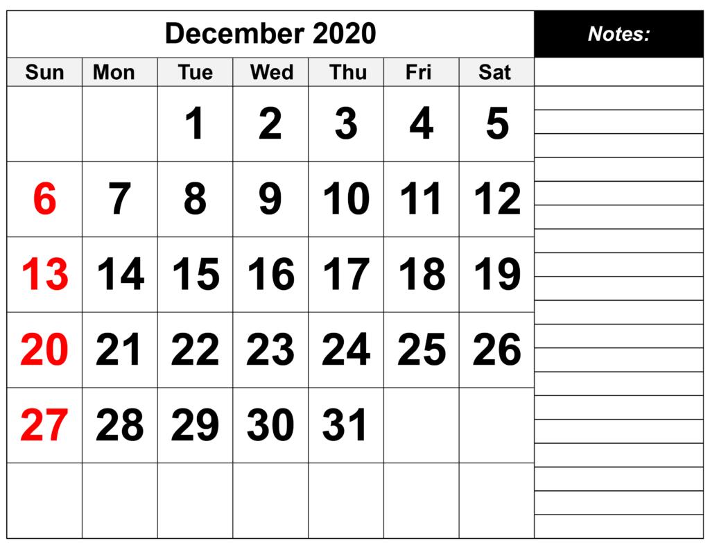 Printable December 2020 Calendar Template – Download Now Free Printable Calendar With Notes