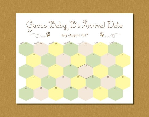 Printable Guess Baby'S Arrival Due Date Calendar Guess The Baby'S Arrival Date