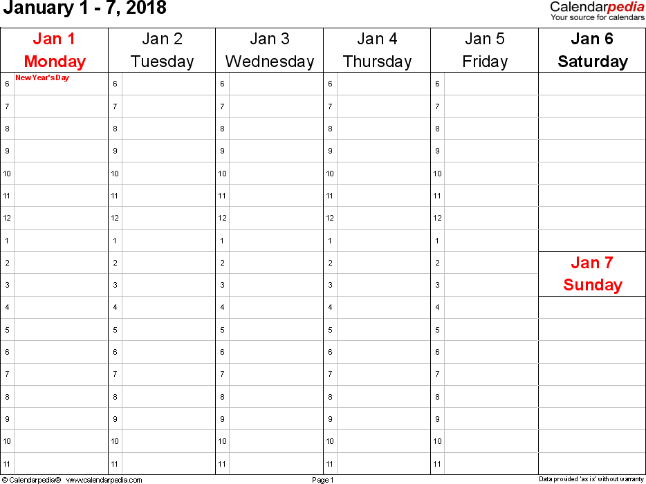 Printable Hourly Planner 2018 | Download Them And Try To Solve Daily Hourly Calendars To Print