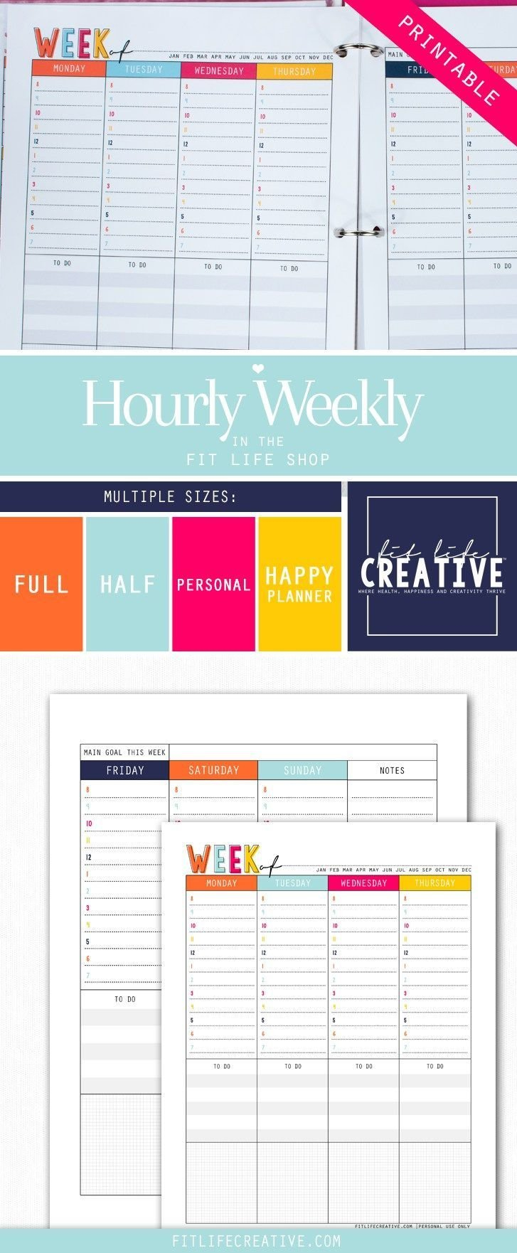 Printable Hourly Weekly Layout Planner Inserts To Map Out Printable Daily Hourly Calenders