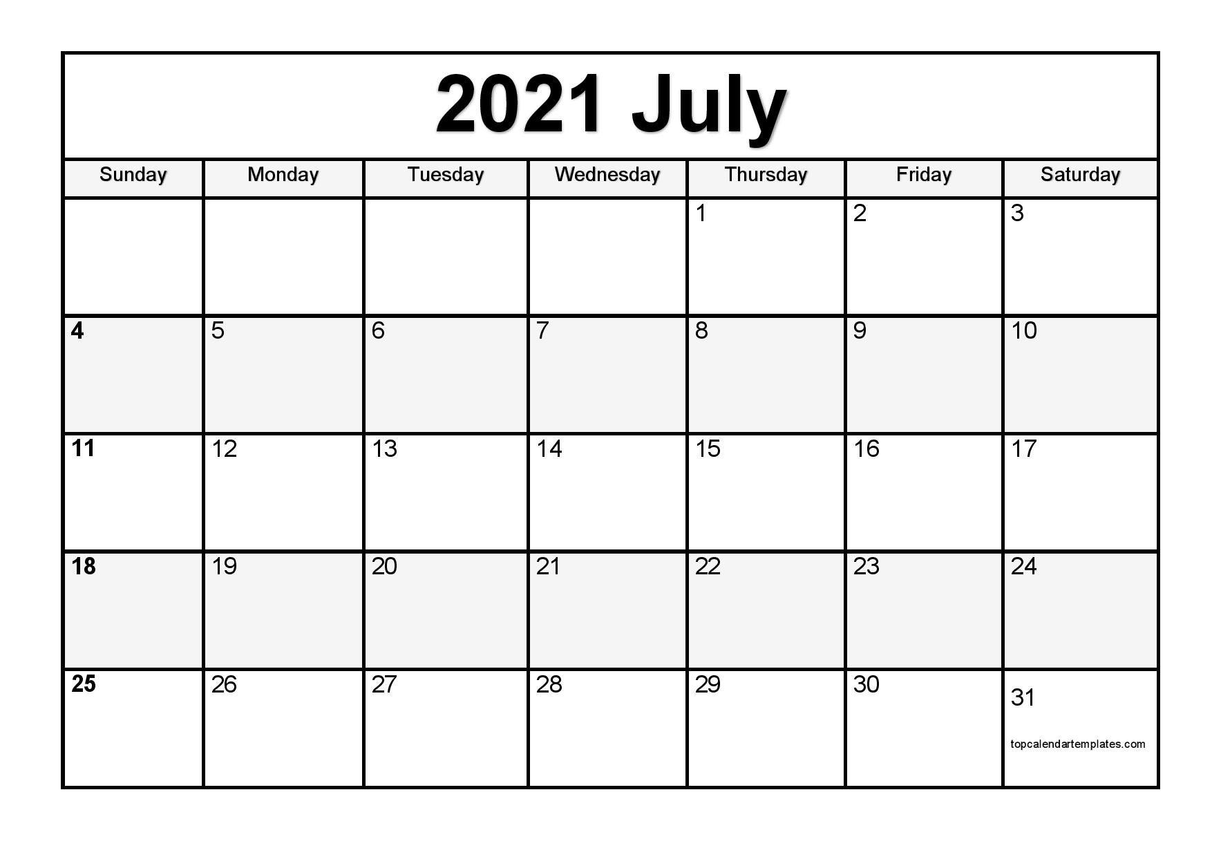 Printable July 2021 Calendar Template – Pdf, Word, Excel Free Bold Printable Calnder Jully