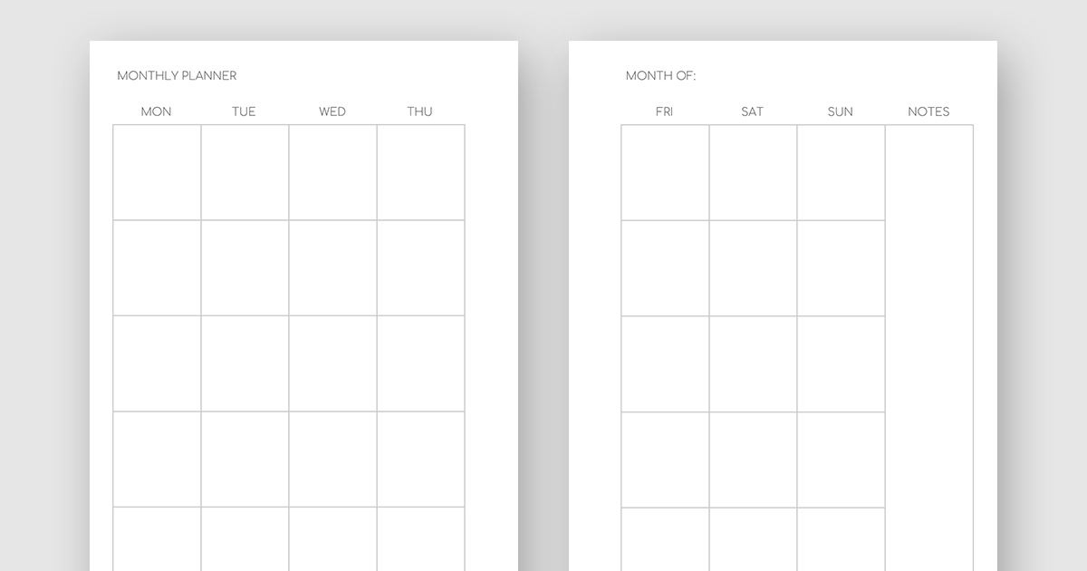 Printable Minimalist Monthly Planner – Month On Two Pages No Frills Printable Calendar
