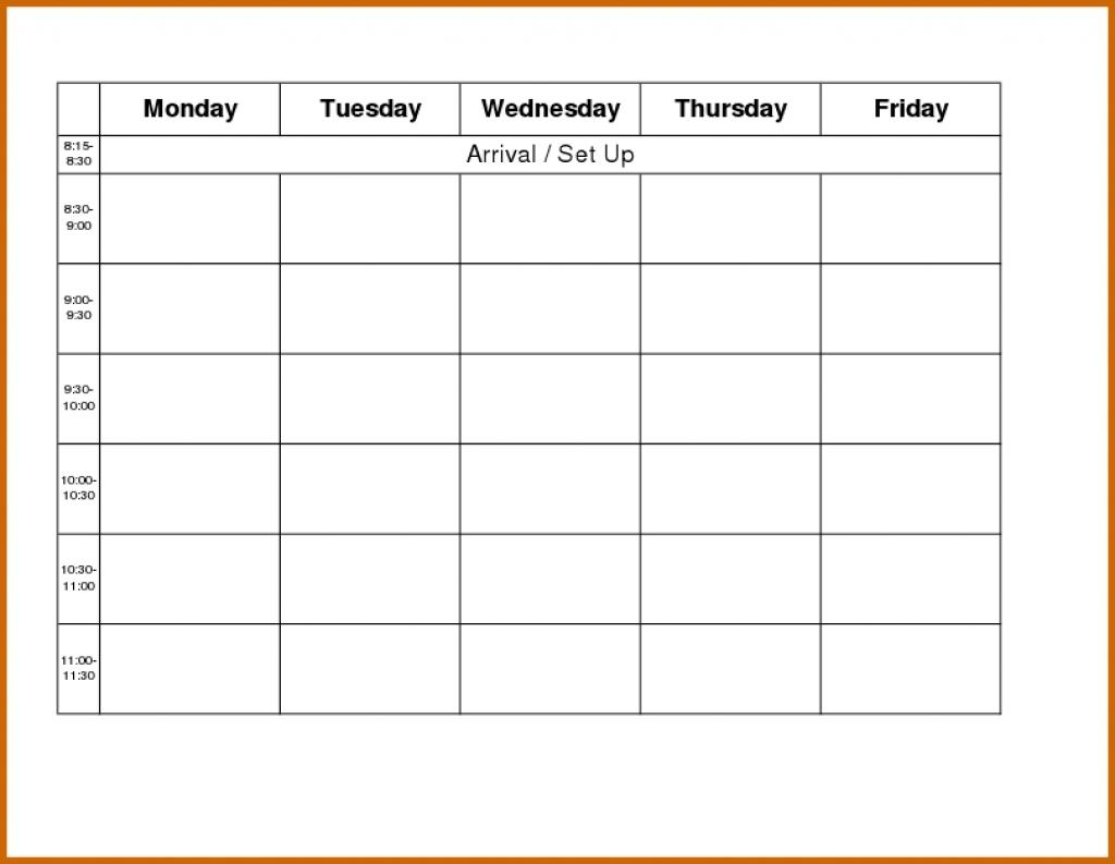 Printable Monday Through Friday Calendar : Free Calendar Monday Thru Friday Calender