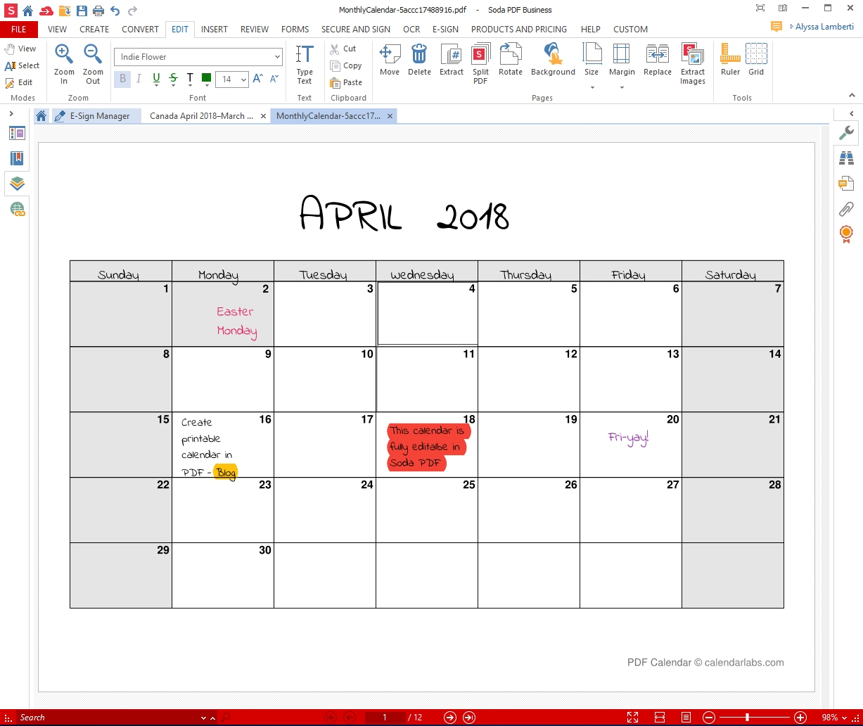 Printable Monthly Calendar That I Can Edit   Example Free Calendars That I Can Edit And Print