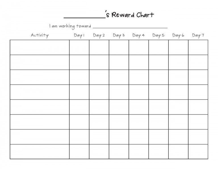 Printable Reward Chart Template | Reward Chart Template Monday Through Friday Chart Wincalnder