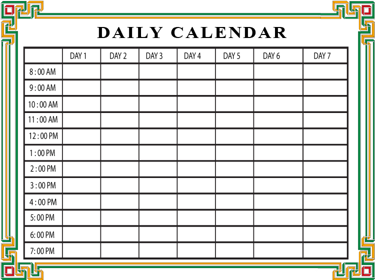 Printable Squares Daily Calendars Large Square Calendar Template