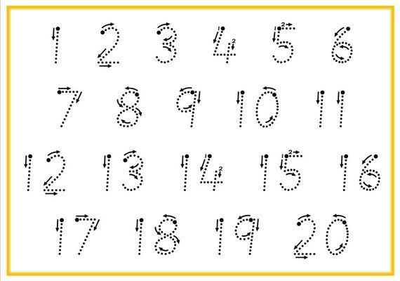 Printable Tracing Numbers 1 20, Digital Download, Number Large Printable Numbers 1 31