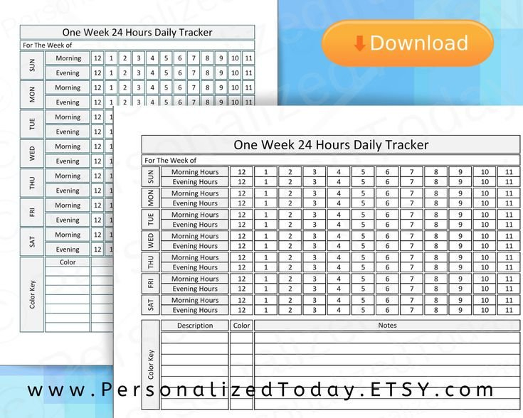 Printable Weekly 24 Hour Time Tracker One Hour Time Weekly Planner With Time Slots Pdf