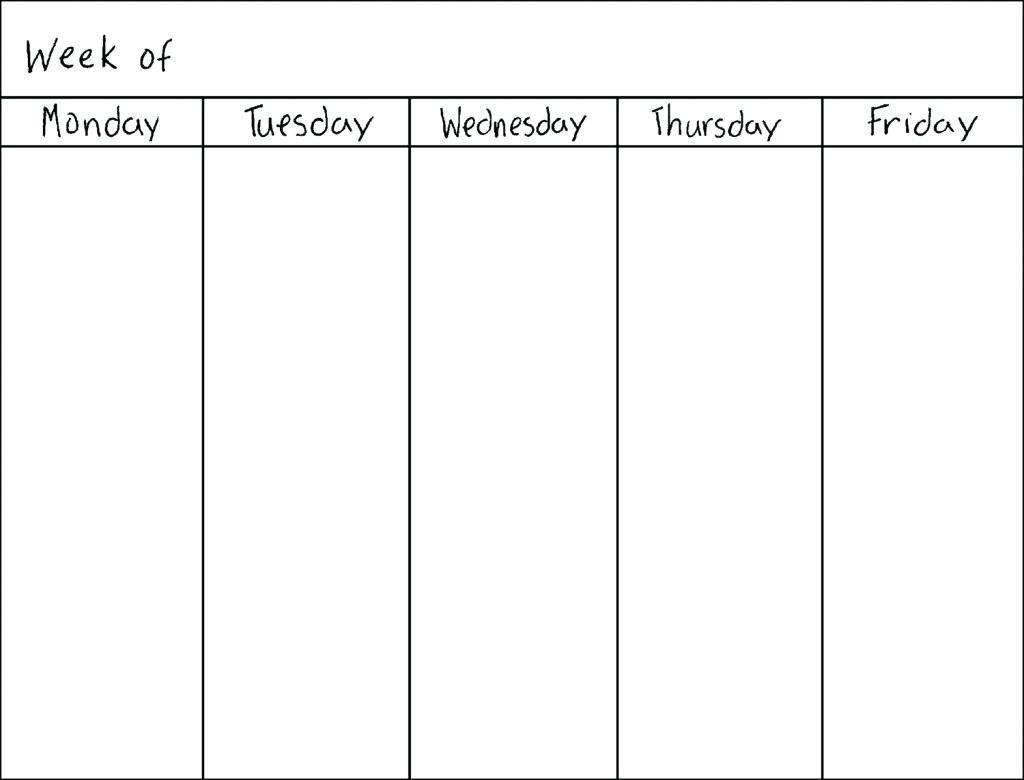 Printable Weekly Calendar Monday Through Friday - Calendar Blank Calendar Template Monday Friday