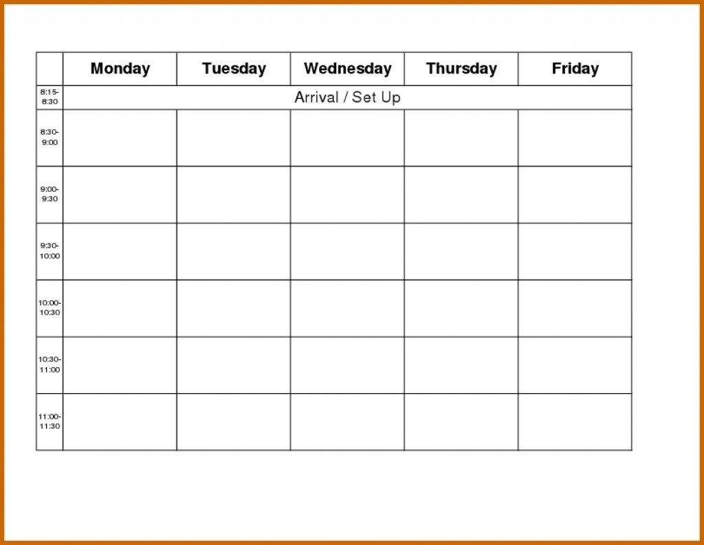 Printable Weekly Calendar Monday Thru Friday | Example Monday To Friday Calender Template