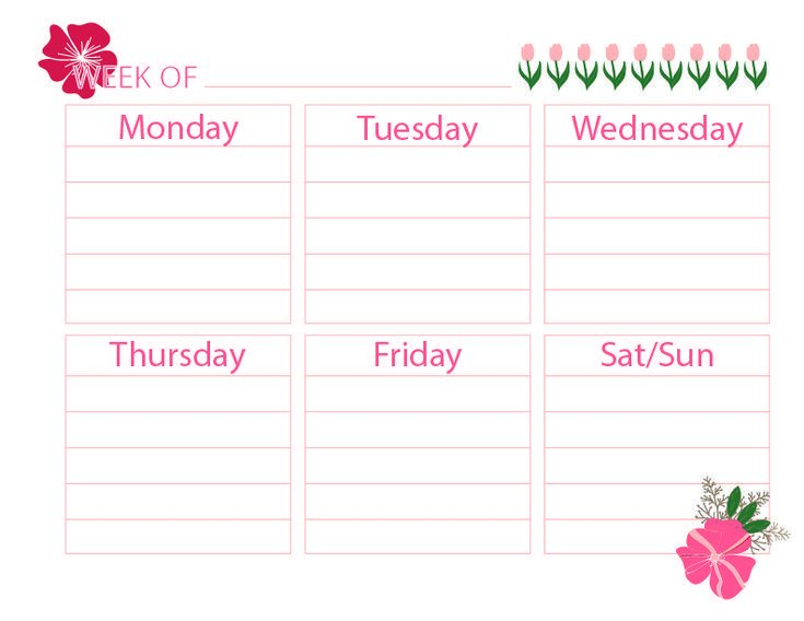 Printable Weekly Calendar –   Weekly Planner Printable 4 Week Printable Calendar