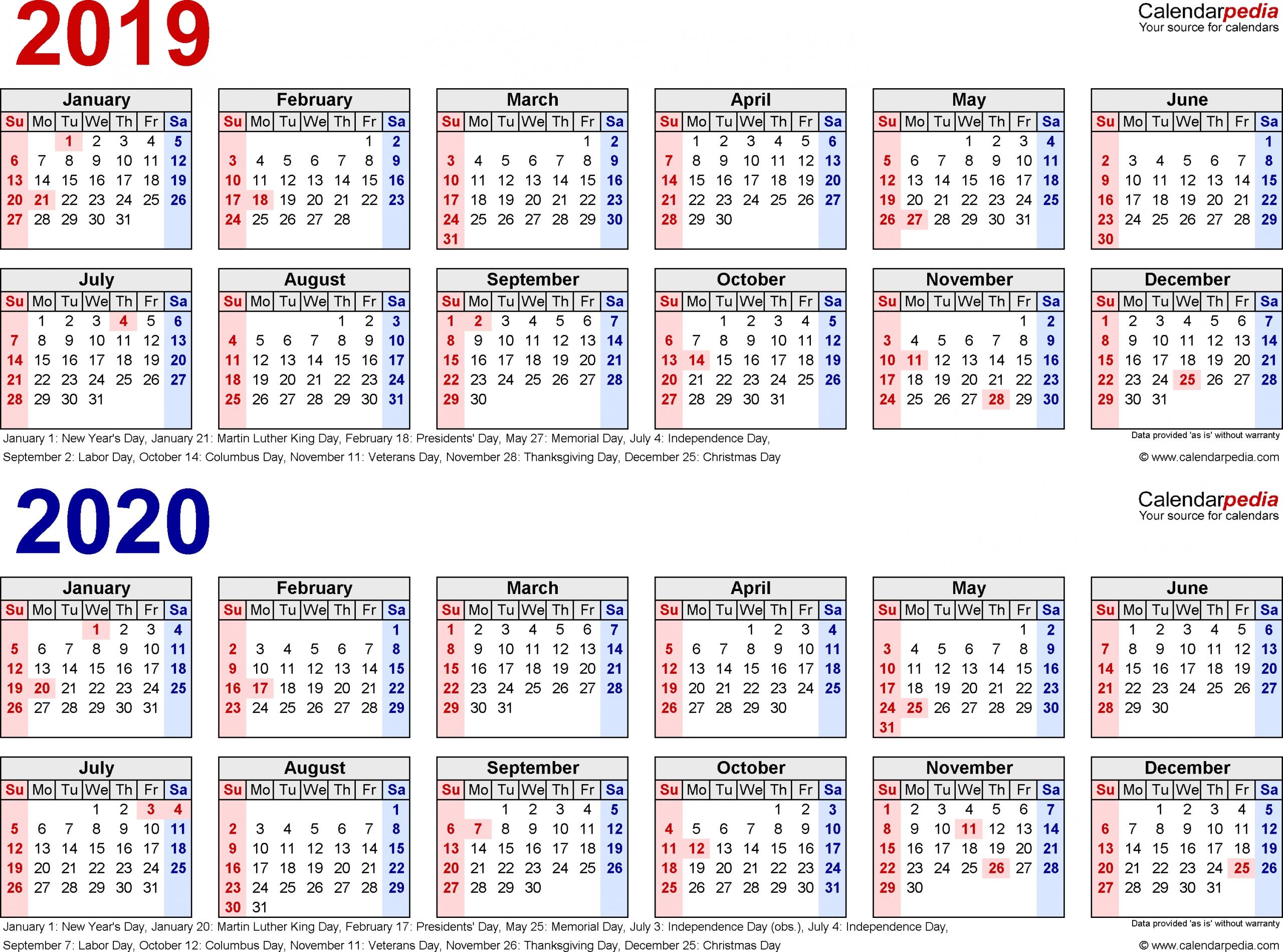 Printable Yearly Calendar June 2019-2020 - Calendar Multiple Year Printable Calendar