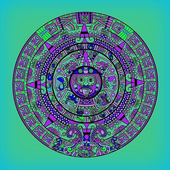 """Psychedelic Mayan Calendar"" Photographic Print Print A Mayan Calendar"