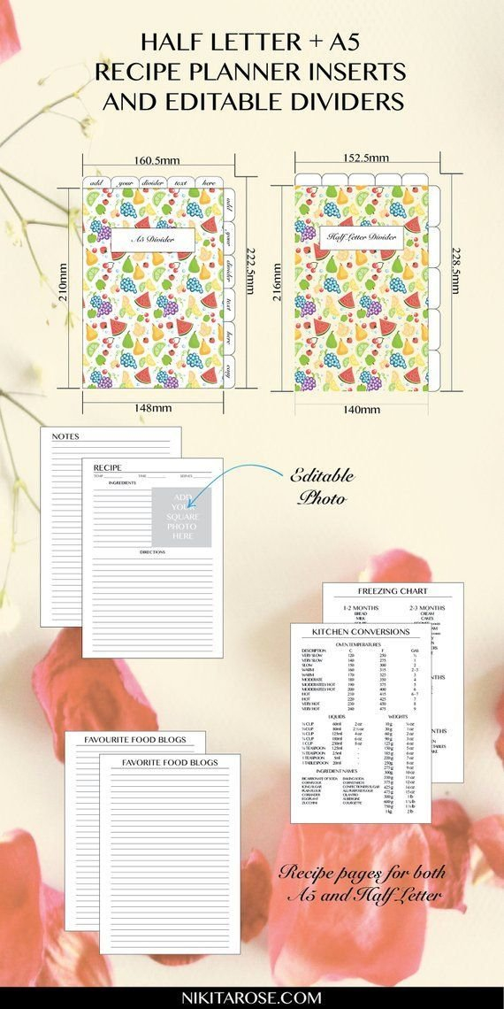 Recipe Planner Inserts, Editable Dividers, Cookbook 8X5.5 Planner Inserts Free Printable