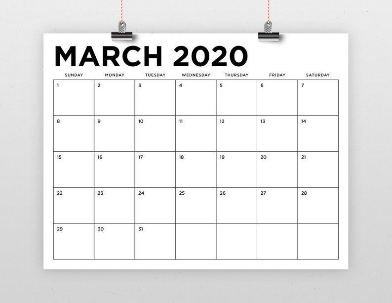 Sale 8.5 X 11 Inch 2020 Calendar Template Instant Download 8 X 11 Calendar Template