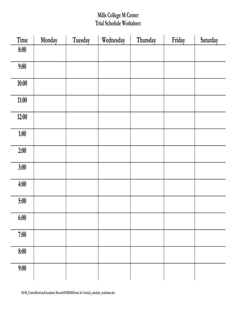 Schedule Worksheet – Fill Online, Printable, Fillable Printable Fill In Schedule