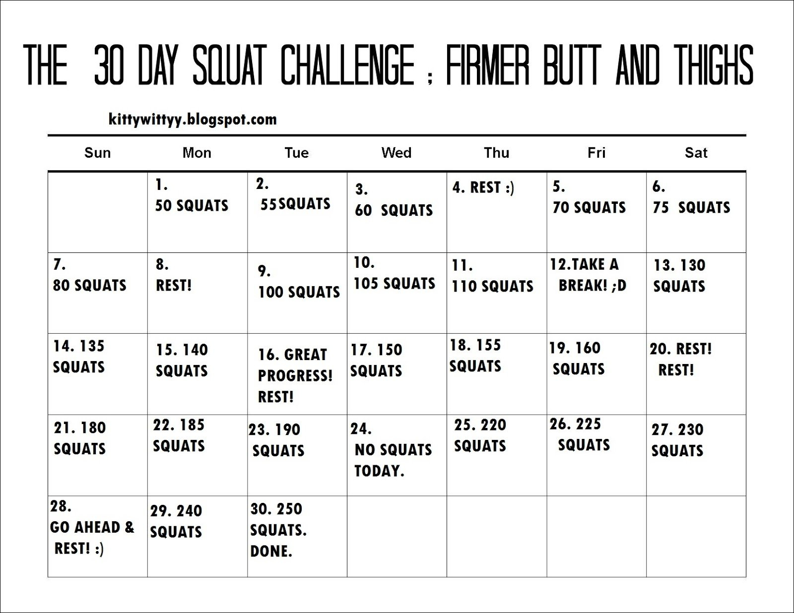 """Search Results For """"30 Day Ab Challenge Printable Pdf Free Printable Squat Challenge Chart"""