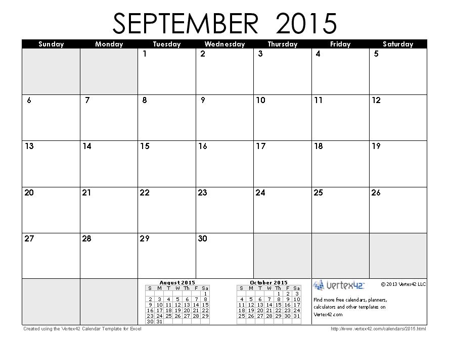 September 2015 Calendar   Calendar Printables, Printable Hp Free Calander Templates